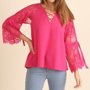 NWT Lace Sleeve Top with Crisscross Neckline